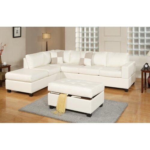 Poundex bobkona reversible sectional reviews wayfair for White sectional sofa wayfair