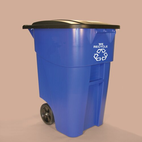Rubbermaid Commercial Products Brute Rollout 50 Gallon Industrial Recycling Bin