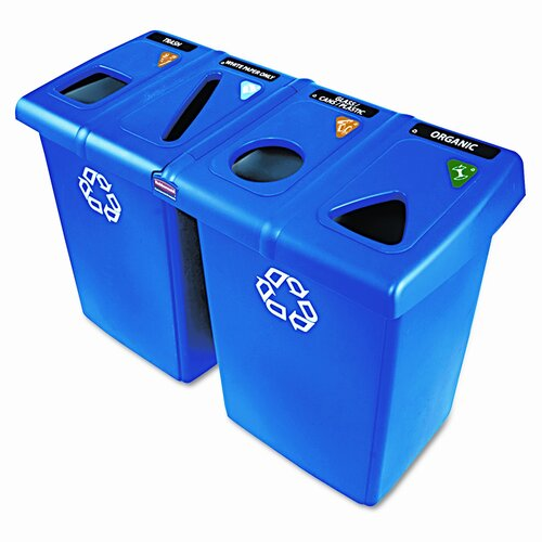 Rubbermaid Commercial Products Glutton 92 Gallon Multi Compartment Recycling Bin