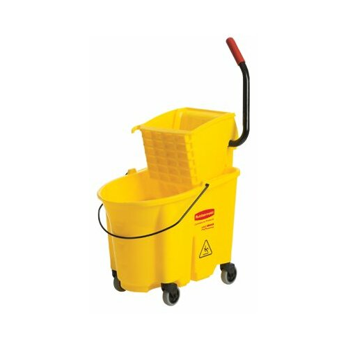 Rubbermaid Commercial Products WaveBrake™ Bucket/Wringer Combination Packs - yellow mopping bucket and wringer combo pack