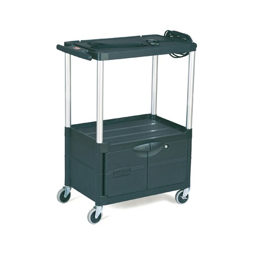Rubbermaid Commercial Products Media Master AV Cart with 2-Shelf in Black