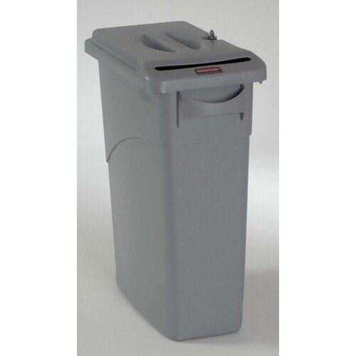 Rubbermaid Commercial Products 15.875 Gallon Slim Jim Confidential Receptacle with Lid in Light Gray