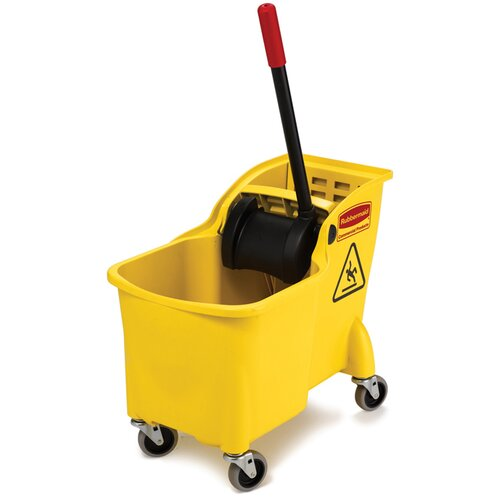 Rubbermaid Commercial Products Tandem 31-Quart Bucket / Wringer Combo in Yellow