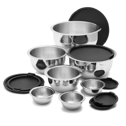14 Pieces Stainless Steel Mixing Bowl Set in Black