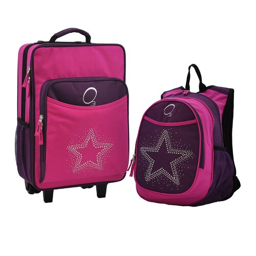 Obersee 2 Piece Bling Rhinestone Star Kids Luggage and Backpack Set