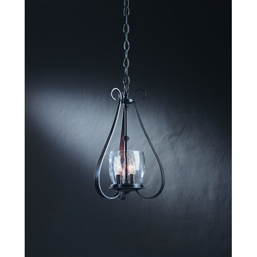 Hubbardton Forge Glass Shades: Hubbardton Forge 3 Light Chandelier With Water Glass Shade