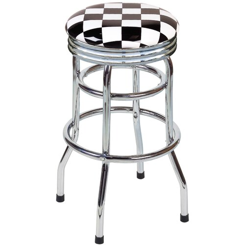 "On The Edge Marketing Checker Flag 30.5"" Swivel Bar Stool"