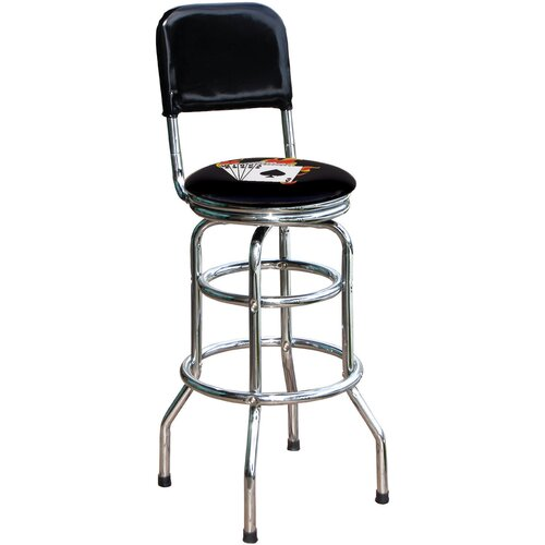 "On The Edge Marketing Poker 30.5"" Swivel Bar Stool"