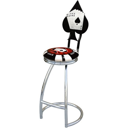 "On The Edge Marketing Poker Chip 30"" Swivel Bar Stool"