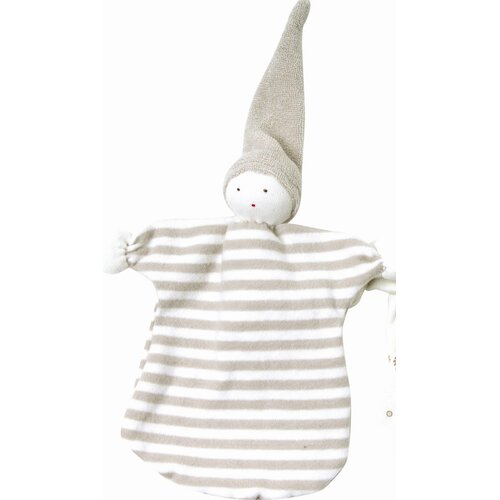 Nature's Nursery Sleeping Doll Toy in Tan Stripes