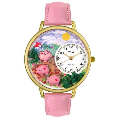 Whimsical Watches Unisex Pigs Pink Leather and Goldtone Watch in Gold