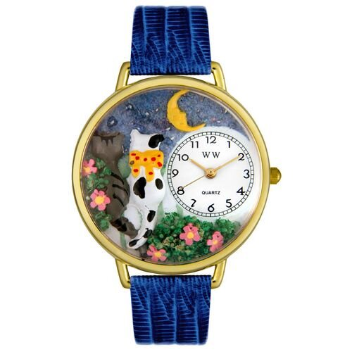 Whimsical Watches Unisex Cats Night Out Royal Blue Leather and Goldtone Watch in Gold