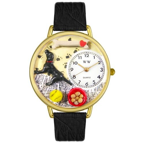 Whimsical Watches Unisex Labrador Retriever Black Skin Leather and Goldtone Watch in Gold