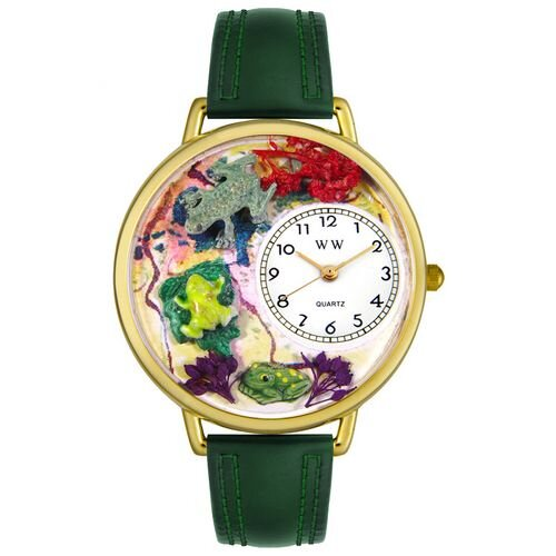 Whimsical Watches Unisex Frogs Hunter Green Leather and Goldtone Watch in Gold