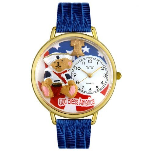 Whimsical Watches Unisex Patriotic Teddy Bear Royal Blue Leather and Goldtone Watch in Gold