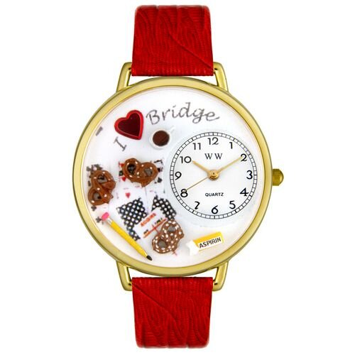Whimsical Watches Unisex Bridge Red Leather and Goldtone Watch in Gold