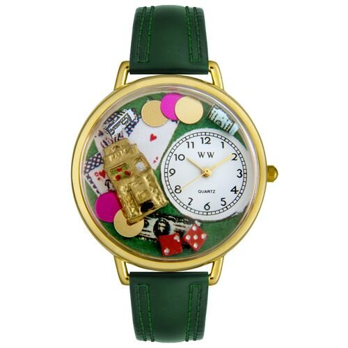 Unisex Casino Hunter Green Leather and Goldtone Watch in Gold