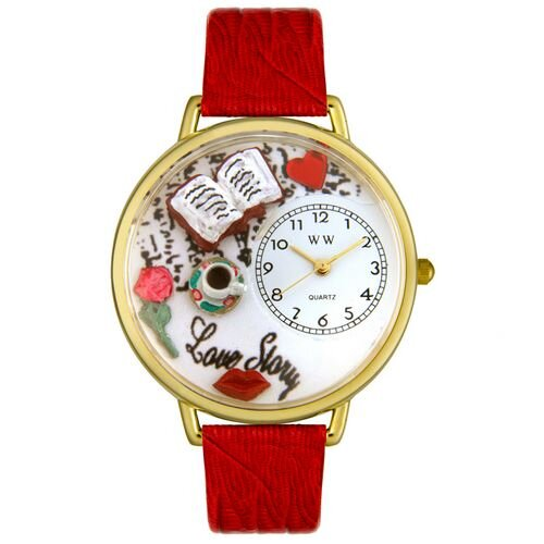 Whimsical Watches Unisex Love Story Red Leather and Goldtone Watch in Gold