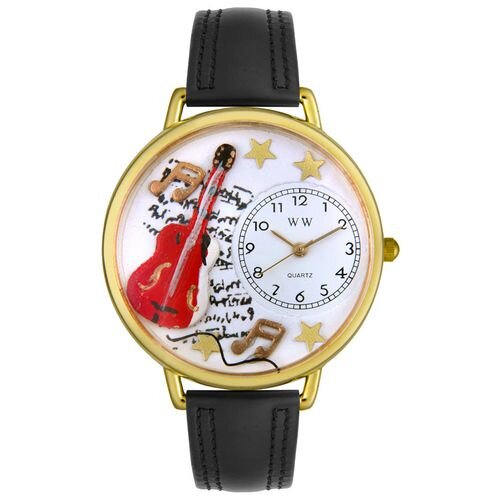 Whimsical Watches Unisex Electric Guitar Black Padded Leather and Goldtone Watch in Gold