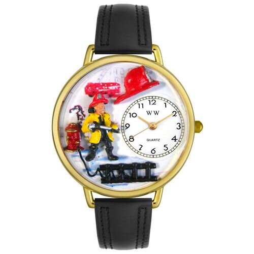 Whimsical Watches Unisex Firefighter Black Padded Leather and Goldtone Watch in Gold