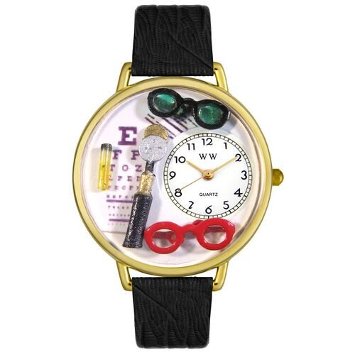 Whimsical Watches Unisex Ophthalmologist Black Skin Leather and Goldtone Watch in Gold