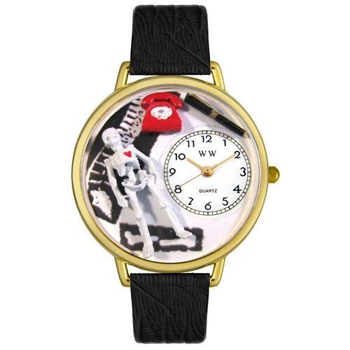 Whimsical Watches Unisex Orthopedics Black Skin Leather and Goldtone Watch in Gold
