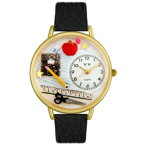 Whimsical Watches Unisex Teacher Black Skin Leather and Goldtone Watch in Gold
