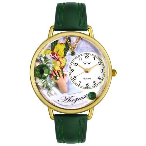 Unisex August Hunter Green Leather and Goldtone Watch in Gold