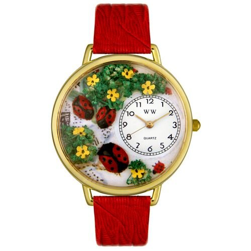 Whimsical Watches Unisex Ladybugs Red Leather and Goldtone Watch in Gold