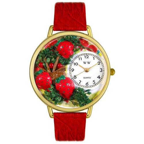 Whimsical Watches Unisex Strawberries Red Leather and Goldtone Watch in Gold