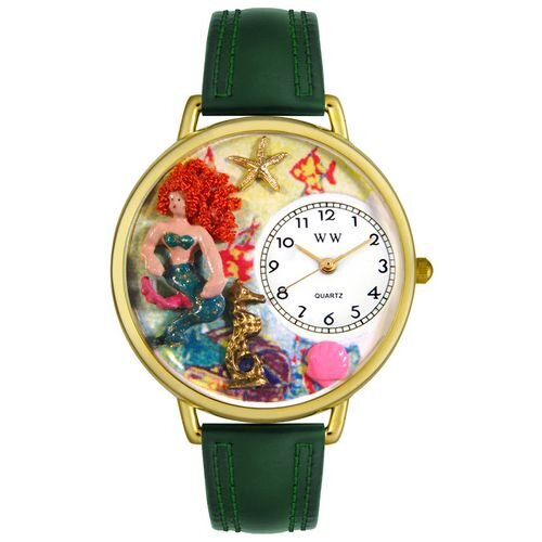 Whimsical Watches Unisex Mermaid Hunter Green Leather and Goldtone Watch in Gold