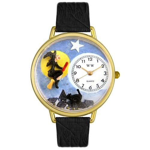 Whimsical Watches Unisex Halloween Flying Witch Black Skin Leather and Goldtone Watch in Gold