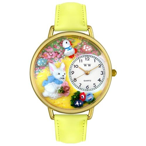 Whimsical Watches Unisex Easter Bunny Yellow Leather and Goldtone Watch in Gold