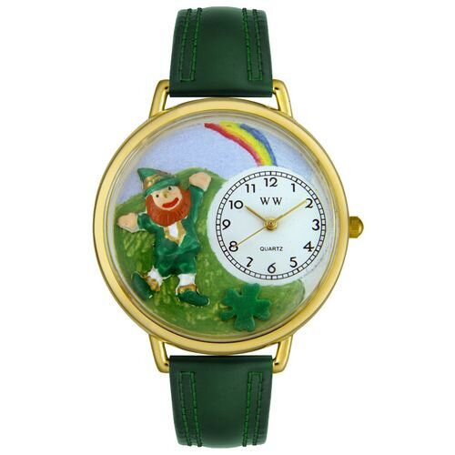 Unisex St. Patrick's Day Rainbow Hunter Green Leather and Goldtone Watch in Gold