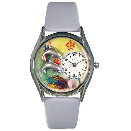Whimsical Watches Women's Dolphin Navy Blue Leather and Silvertone Watch in Silver