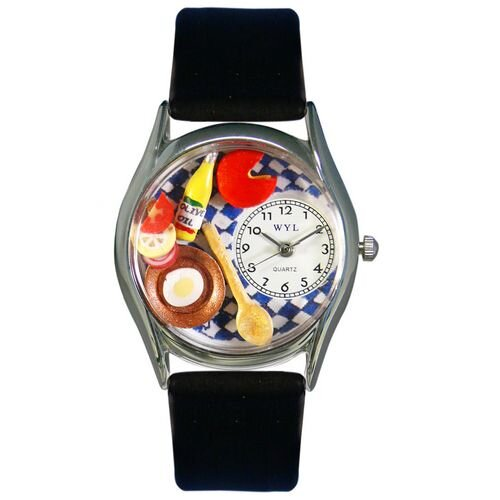 "Whimsical Watches Women""s Gourmet Black Leather and Silvertone Watch in Silver"