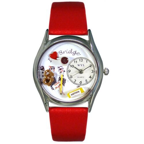 """Whimsical Watches Women""""s Bridge Red Leather and Silvertone Watch in Silver"""
