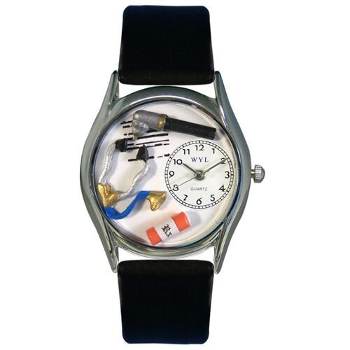 "Whimsical Watches Women""s Doctor Black Leather and Silvertone Watch in Silver"