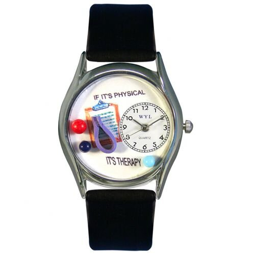 Women's Physical Therapist Black Leather and Silvertone Watch in Silver