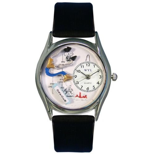 Women's Respiratory Therapist Black Leather and Silvertone Watch in Silver