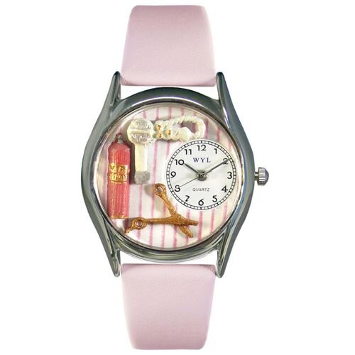 "Whimsical Watches Women""s Beautician Female Pink Leather and Silvertone Watch in Silver"