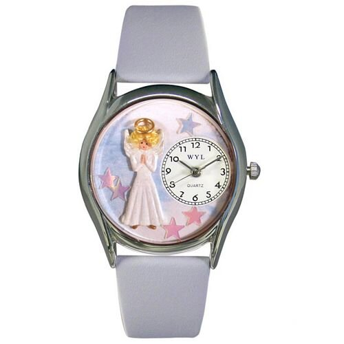 "Whimsical Watches Women""s Angel Baby Blue Leather and Silvertone Watch in Silver"