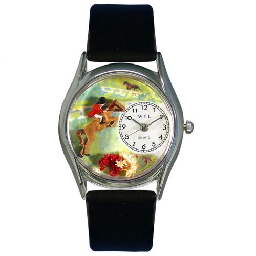 Women's Horse Competition Black Leather and Silvertone Watch in Silver