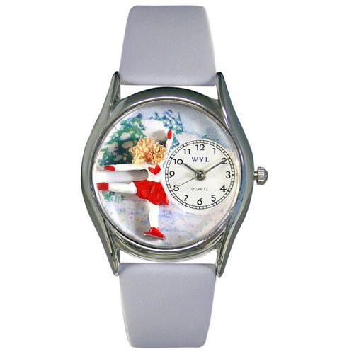 Women's Ice Skating Red Leather and Silvertone Watch in Silver