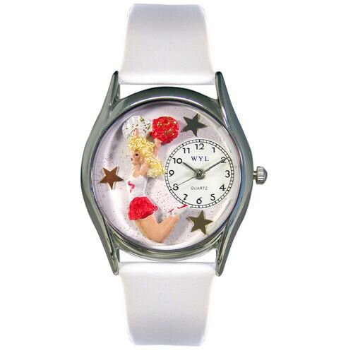 Whimsical Watches Women's Cheerleader White Leather and Silvertone Watch in Silver