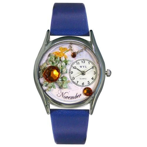 Whimsical Watches Women's November Royal Blue Leather and Silvertone Watch in Silver
