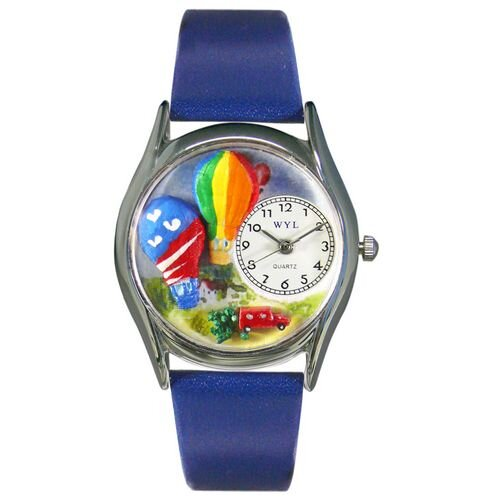 Whimsical Watches Women's Hot Air Balloons Royal Blue Leather and Silvertone Watch in Silver