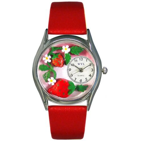 Whimsical Watches Women's Strawberries Red Leather and Silvertone Watch in Silver