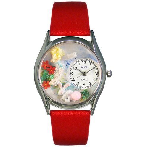 Women's Garden Fairy Red Leather and Silvertone Watch in Silver