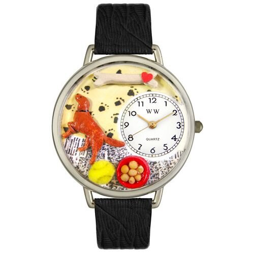 Unisex Irish Setter Black Skin Leather and Silvertone Watch in Silver